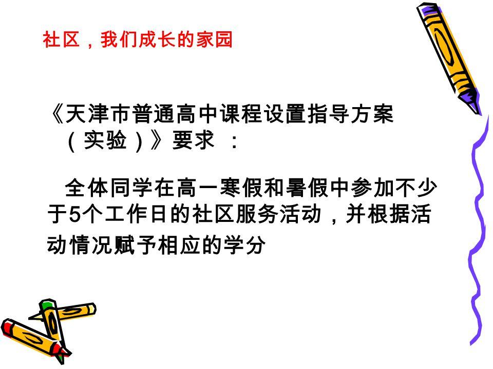 《天津市普通高中课程设置指导方案 (实验)》要求 : 全体同学在高一寒假和暑假中参加不少 于 5 个工作日的社区服务活动,并根据活 动情况赋予相应的学分