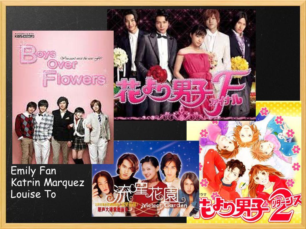 Timeline 1996 - Hana Yori Dango (Japanese anime) 2001 - Meteor Garden (Taiwan) 2005 - Hana Yori Dango (Japan) 2009 Jan.- Mar.- Boys Over Flowers (Korea) 2009 Aug.- Let s Go Watch A Meteor Shower.