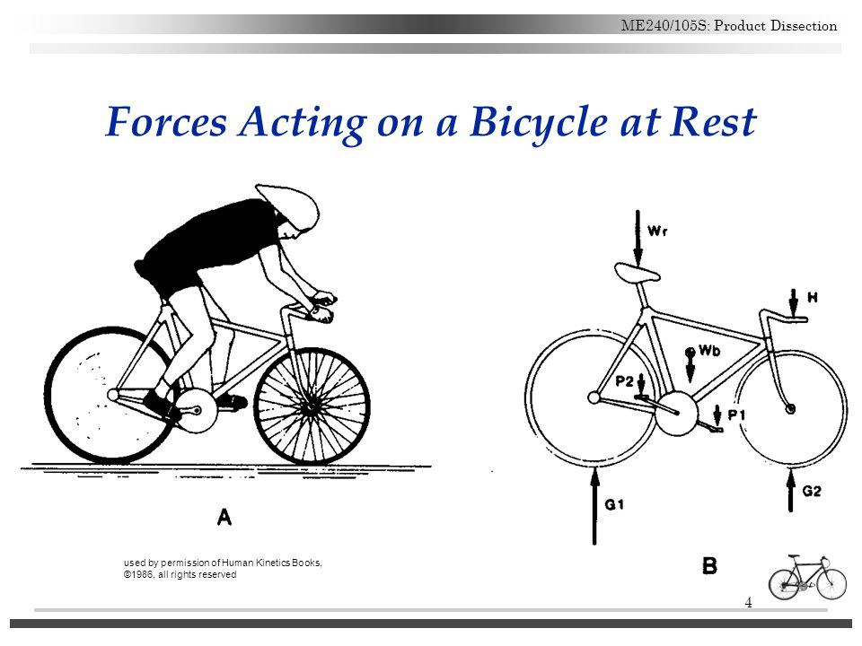 4 ME240/105S: Product Dissection Forces Acting on a Bicycle at Rest used by permission of Human Kinetics Books, ©1986, all rights reserved