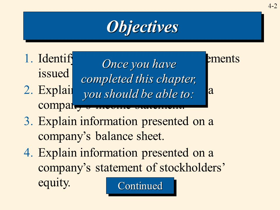 4-3 5.Identify some of the primary limitations of financial statements. ObjectivesObjectives