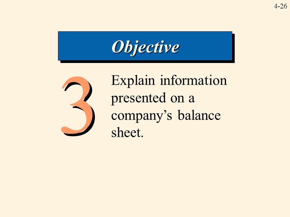 4-26 3 3 Explain information presented on a company's balance sheet. ObjectiveObjective
