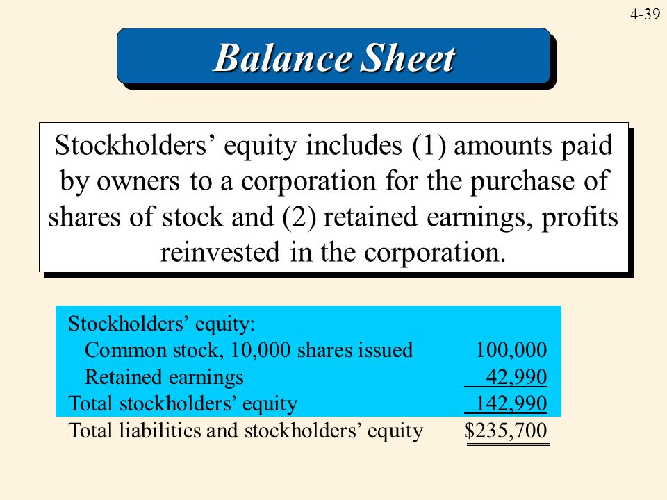 4-39 Balance Sheet Stockholders' equity includes (1) amounts paid by owners to a corporation for the purchase of shares of stock and (2) retained earn