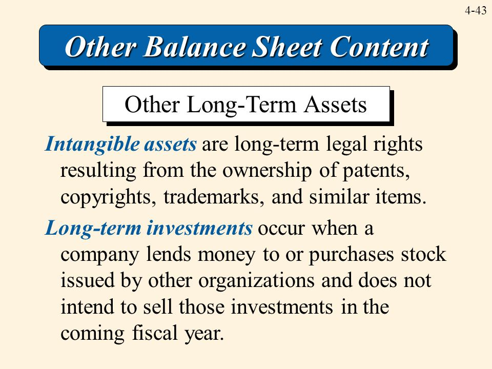 4-43 Other Balance Sheet Content Intangible assets are long-term legal rights resulting from the ownership of patents, copyrights, trademarks, and sim
