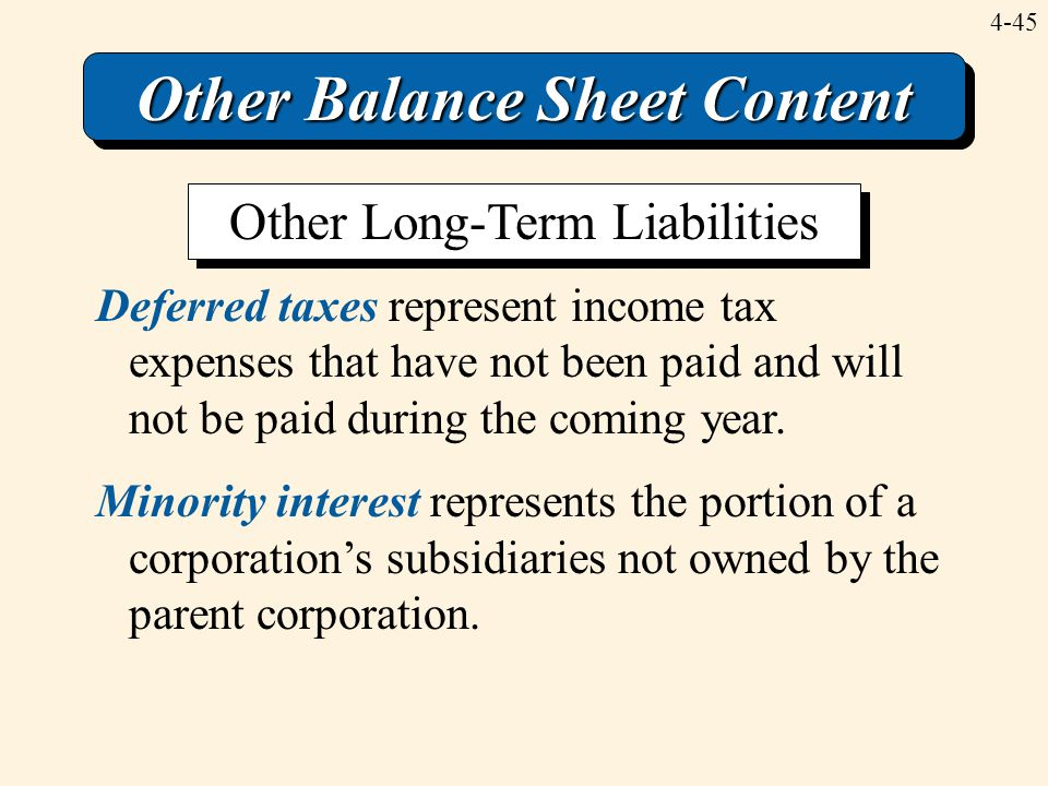 4-45 Other Balance Sheet Content Deferred taxes represent income tax expenses that have not been paid and will not be paid during the coming year. Min