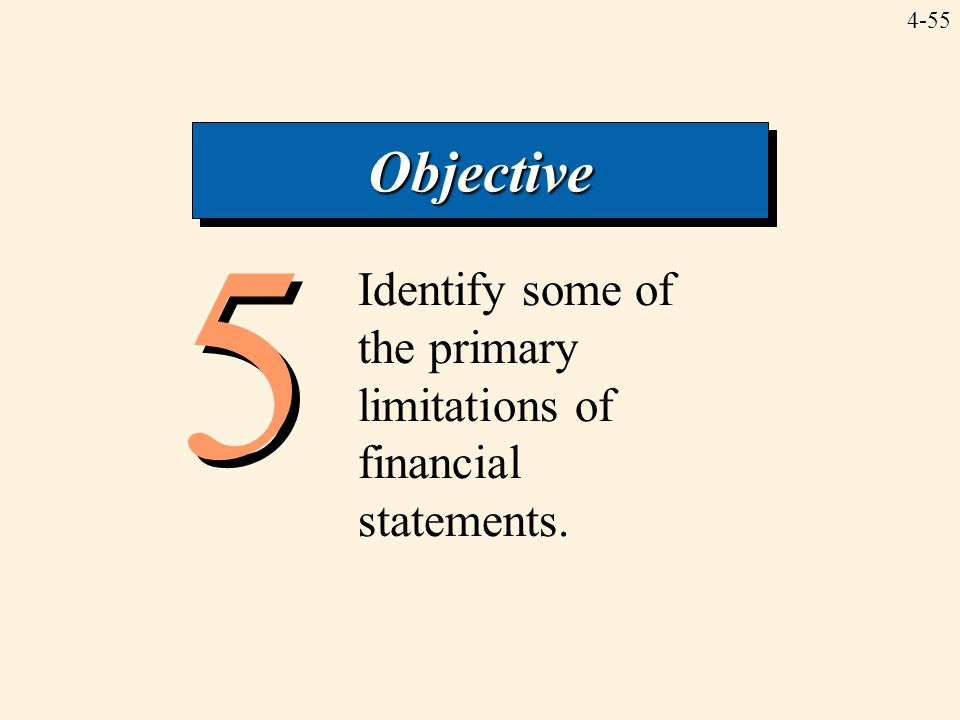 4-55 5 5 Identify some of the primary limitations of financial statements. ObjectiveObjective