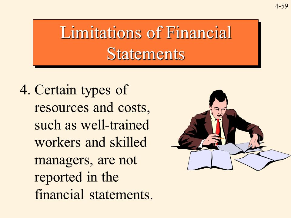 4-59 Limitations of Financial Statements 4.Certain types of resources and costs, such as well-trained workers and skilled managers, are not reported i