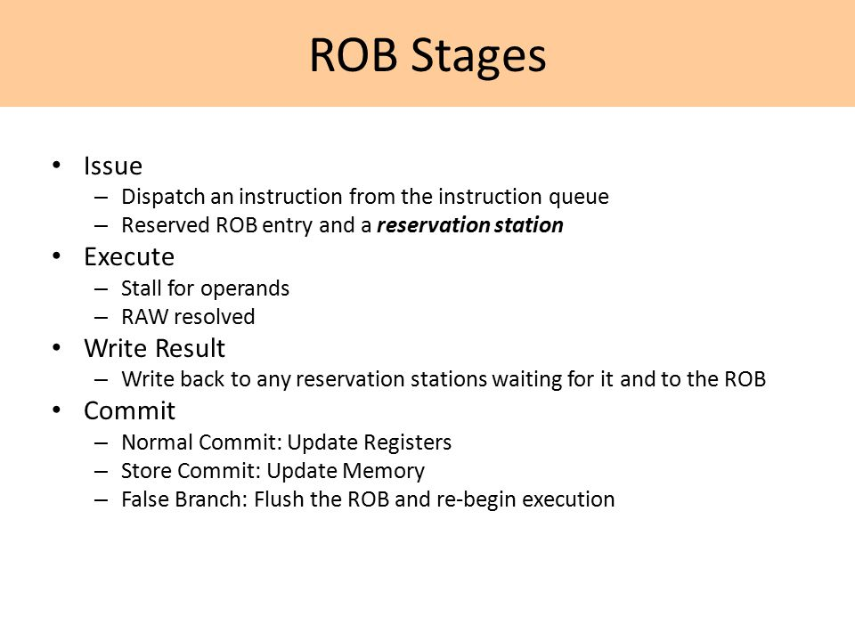 ROB Stages Issue – Dispatch an instruction from the instruction queue – Reserved ROB entry and a reservation station Execute – Stall for operands – RAW resolved Write Result – Write back to any reservation stations waiting for it and to the ROB Commit – Normal Commit: Update Registers – Store Commit: Update Memory – False Branch: Flush the ROB and re-begin execution