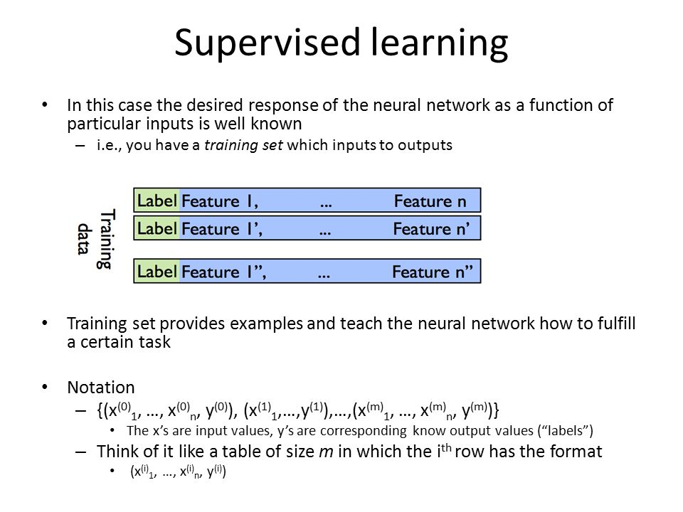 Supervised learning In this case the desired response of the neural network as a function of particular inputs is well known – i.e., you have a training set which inputs to outputs Training set provides examples and teach the neural network how to fulfill a certain task Notation – {(x (0) 1, …, x (0) n, y (0) ), (x (1) 1,…,y (1) ),…,(x (m) 1, …, x (m) n, y (m) )} The x's are input values, y's are corresponding know output values ( labels ) – Think of it like a table of size m in which the i th row has the format (x (i) 1, …, x (i) n, y (i) )