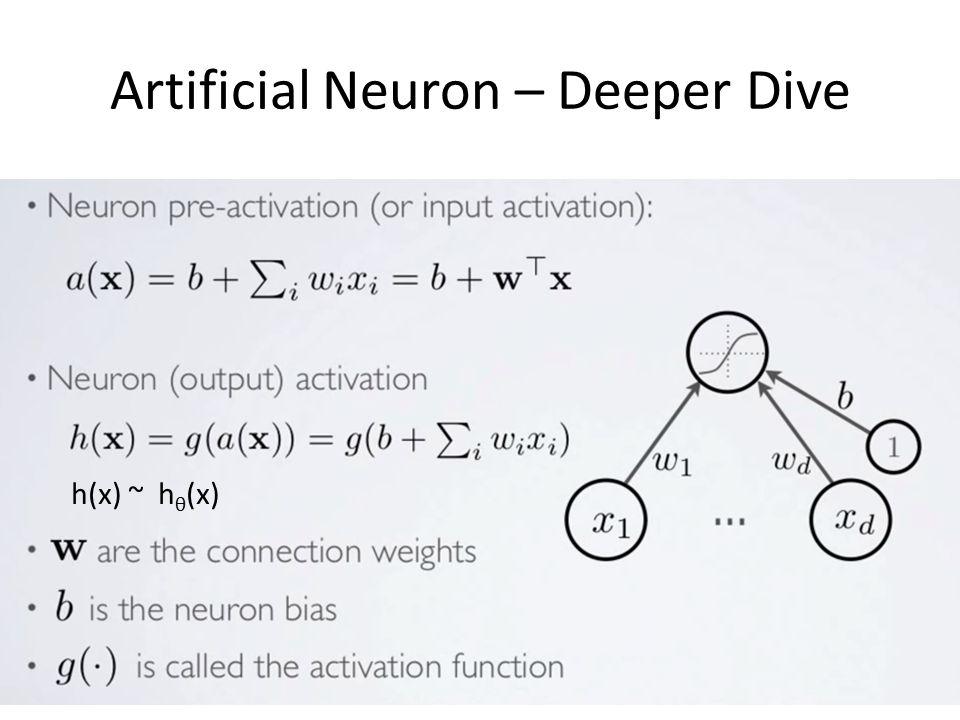 Artificial Neuron – Deeper Dive h(x) ~ h θ (x)