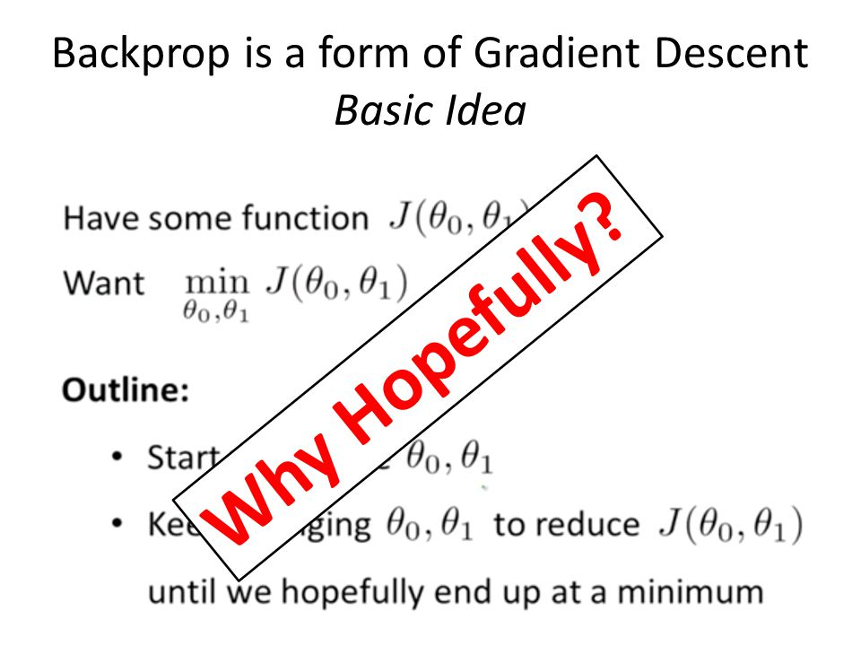 Backprop is a form of Gradient Descent Basic Idea Why Hopefully