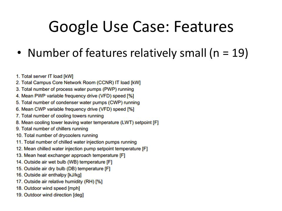 Google Use Case: Features Number of features relatively small (n = 19)