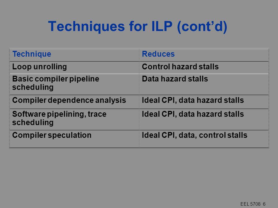 EEL 5708 6 Techniques for ILP (cont'd) TechniqueReduces Loop unrollingControl hazard stalls Basic compiler pipeline scheduling Data hazard stalls Comp