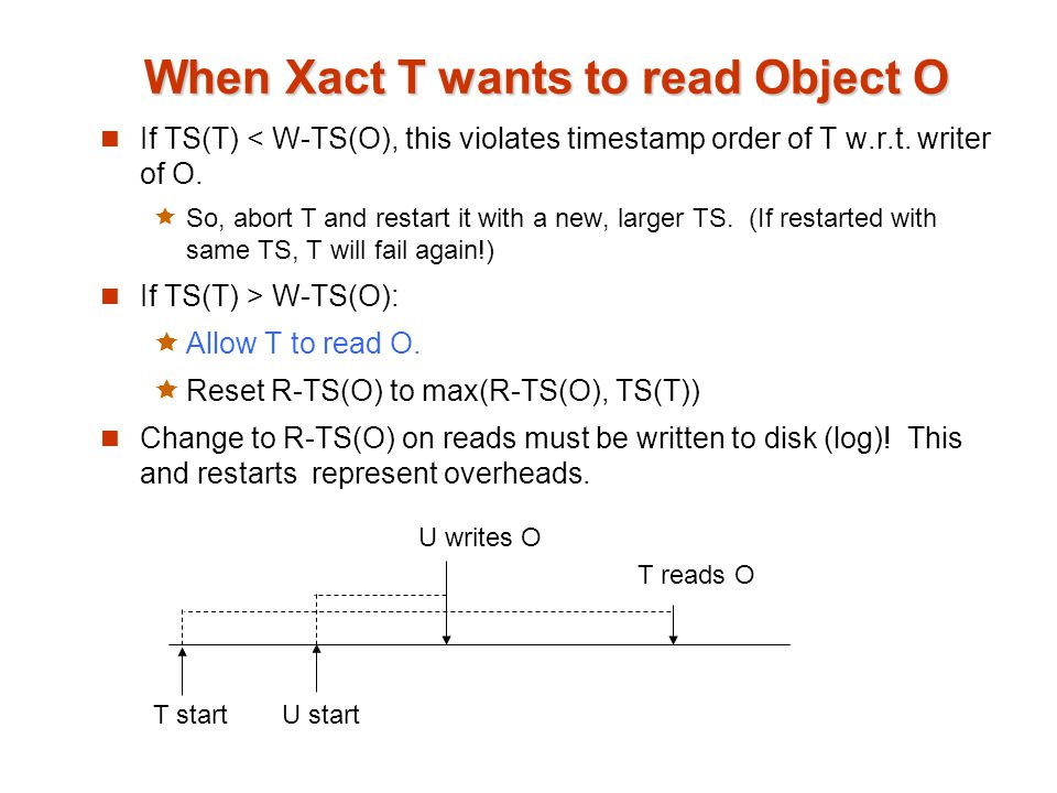 When Xact T wants to read Object O If TS(T) < W-TS(O), this violates timestamp order of T w.r.t.