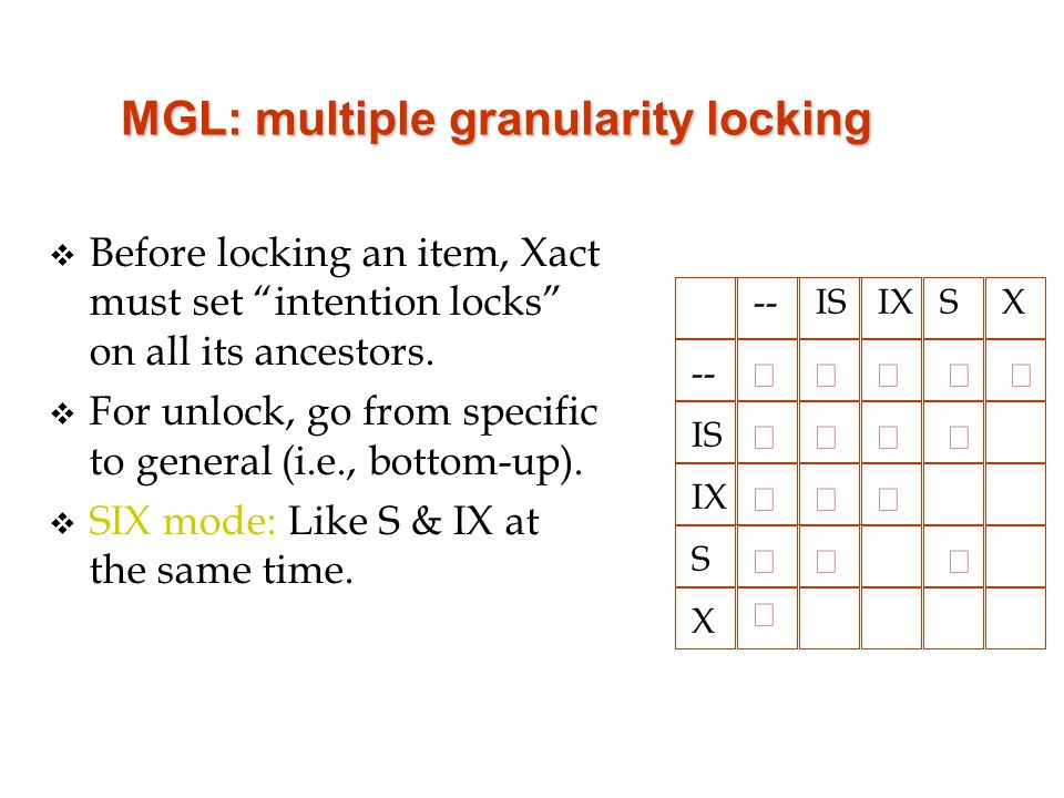 MGL: multiple granularity locking v Before locking an item, Xact must set intention locks on all its ancestors.