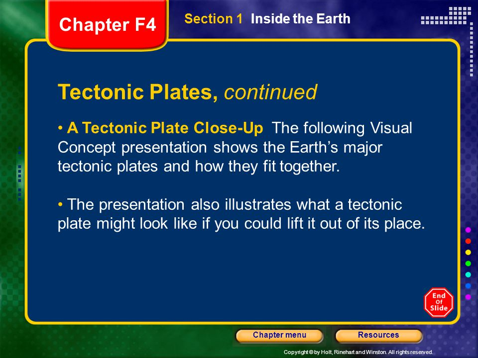 Copyright © by Holt, Rinehart and Winston. All rights reserved. ResourcesChapter menu Section 1 Inside the Earth Tectonic Plates, continued A Tectonic