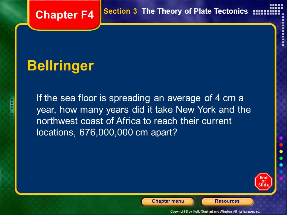 Copyright © by Holt, Rinehart and Winston. All rights reserved. ResourcesChapter menu Section 3 The Theory of Plate Tectonics Bellringer If the sea fl