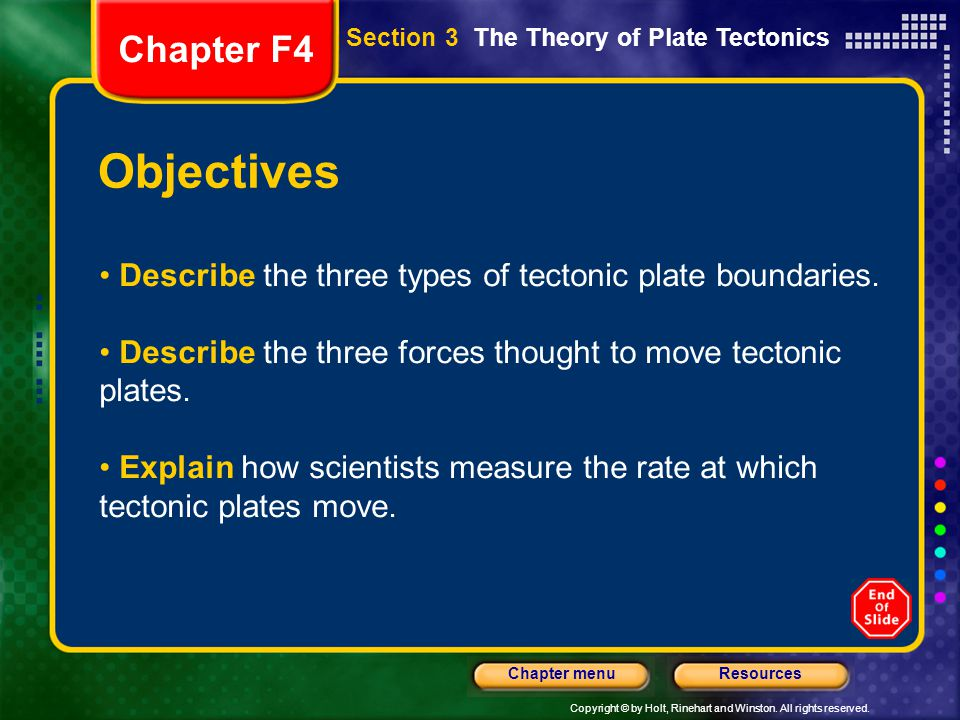 Copyright © by Holt, Rinehart and Winston. All rights reserved. ResourcesChapter menu Objectives Describe the three types of tectonic plate boundaries