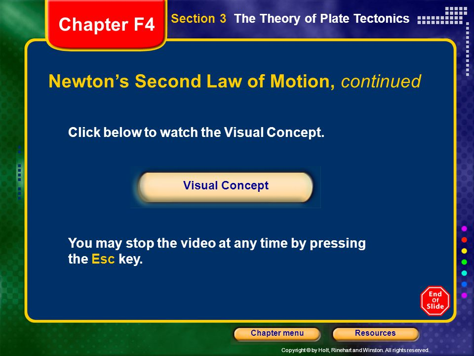 Copyright © by Holt, Rinehart and Winston. All rights reserved. ResourcesChapter menu Newton's Second Law of Motion, continued Click below to watch th