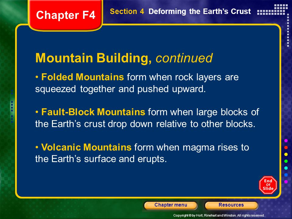 Copyright © by Holt, Rinehart and Winston. All rights reserved. ResourcesChapter menu Mountain Building, continued Folded Mountains form when rock lay