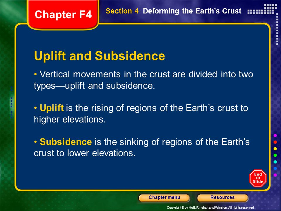 Copyright © by Holt, Rinehart and Winston. All rights reserved. ResourcesChapter menu Uplift and Subsidence Vertical movements in the crust are divide