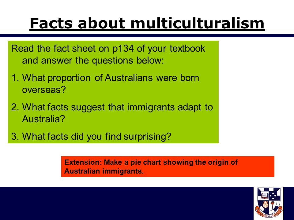 Facts about multiculturalism Read the fact sheet on p134 of your textbook and answer the questions below: 1.What proportion of Australians were born overseas.
