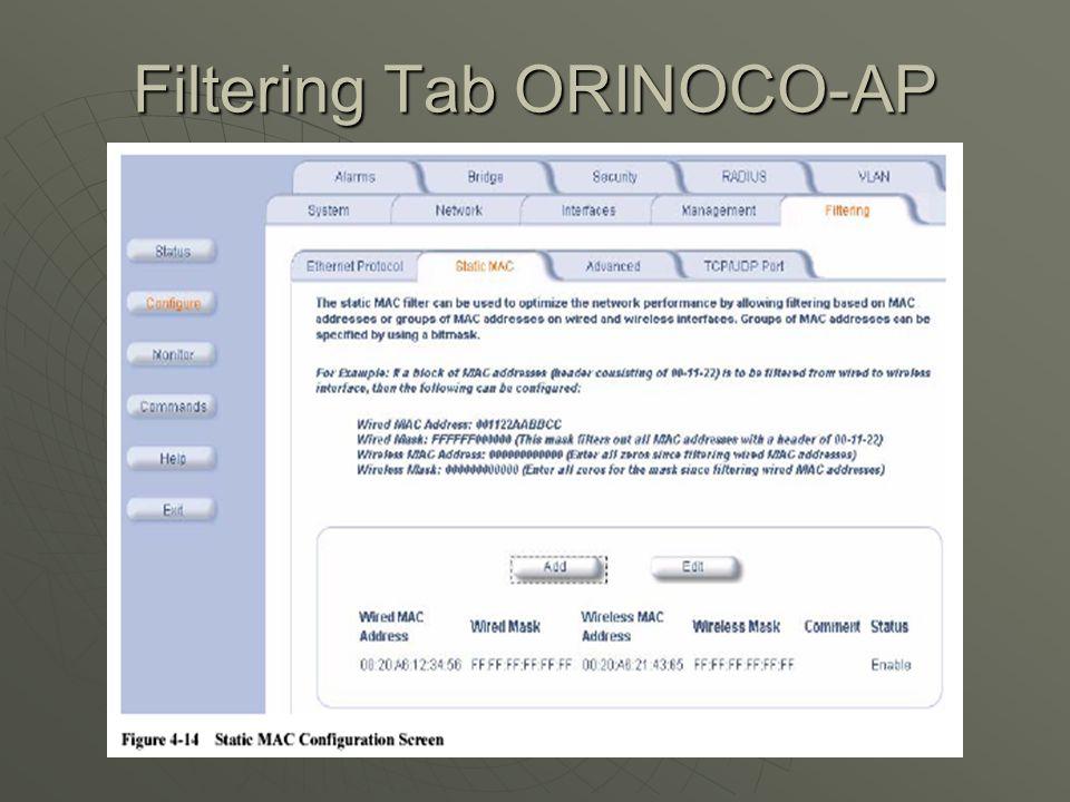 Filtering Tab ORINOCO-AP