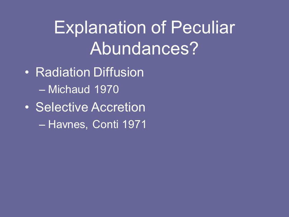 Explanation of Peculiar Abundances.