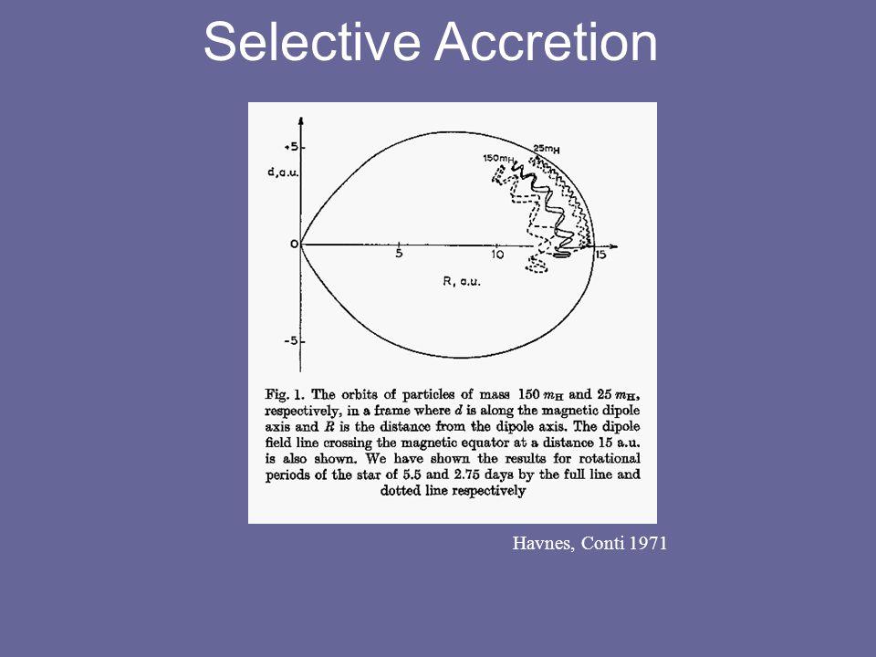Selective Accretion Havnes, Conti 1971