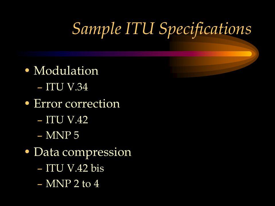 Sample ITU Specifications Modulation –ITU V.34 Error correction –ITU V.42 –MNP 5 Data compression –ITU V.42 bis –MNP 2 to 4
