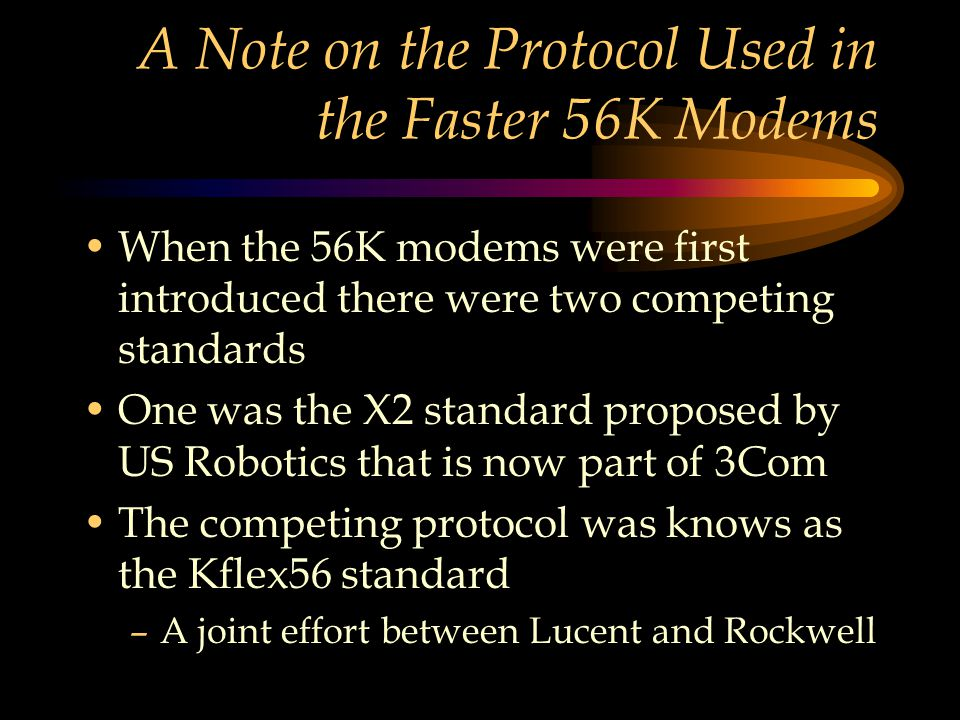 A Note on the Protocol Used in the Faster 56K Modems When the 56K modems were first introduced there were two competing standards One was the X2 stand