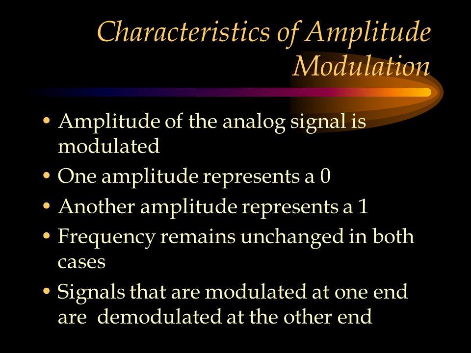 Characteristics of Amplitude Modulation Amplitude of the analog signal is modulated One amplitude represents a 0 Another amplitude represents a 1 Freq