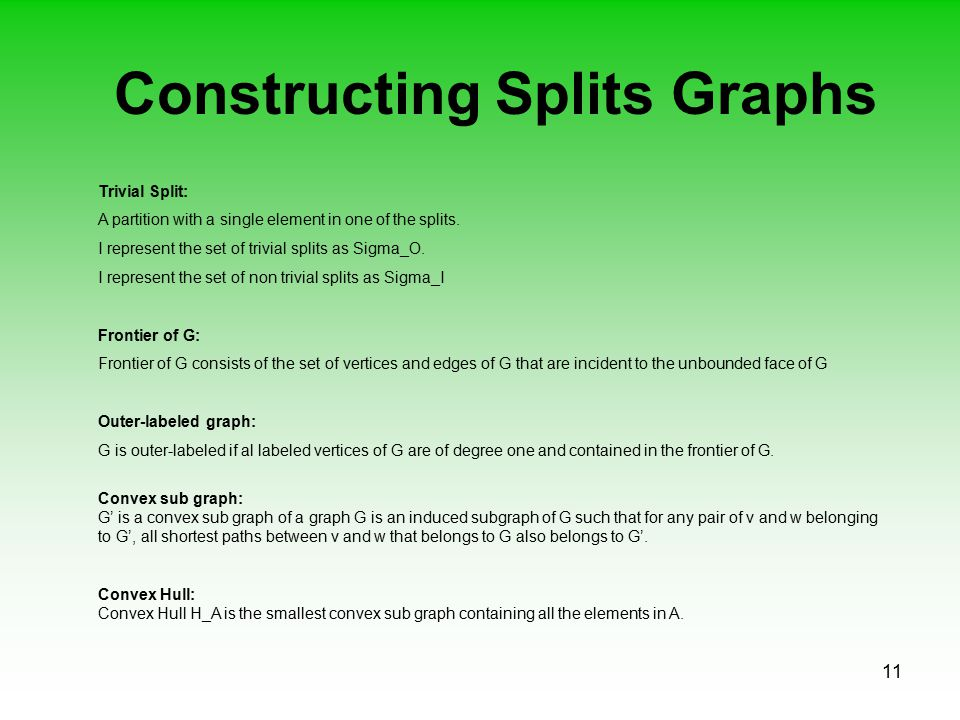 11 Constructing Splits Graphs Trivial Split: A partition with a single element in one of the splits. I represent the set of trivial splits as Sigma_O.