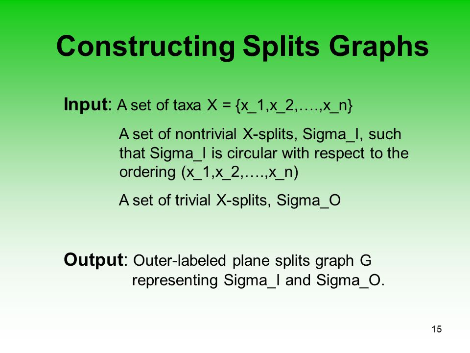 15 Constructing Splits Graphs Input: A set of taxa X = {x_1,x_2,….,x_n} A set of nontrivial X-splits, Sigma_I, such that Sigma_I is circular with resp