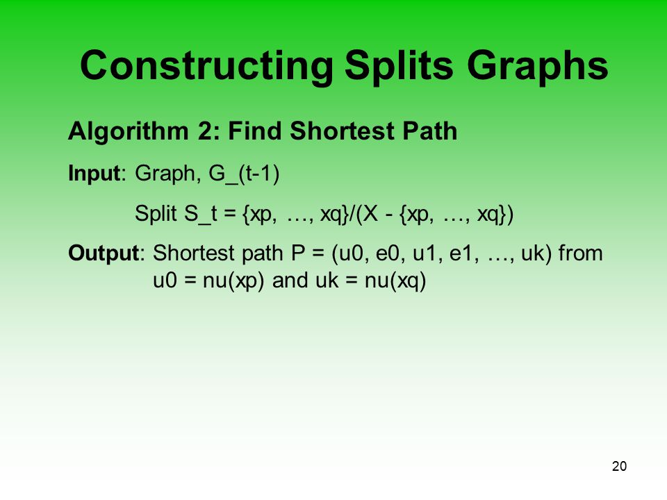 20 Constructing Splits Graphs Algorithm 2: Find Shortest Path Input: Graph, G_(t-1) Split S_t = {xp, …, xq}/(X - {xp, …, xq}) Output: Shortest path P = (u0, e0, u1, e1, …, uk) from u0 = nu(xp) and uk = nu(xq)