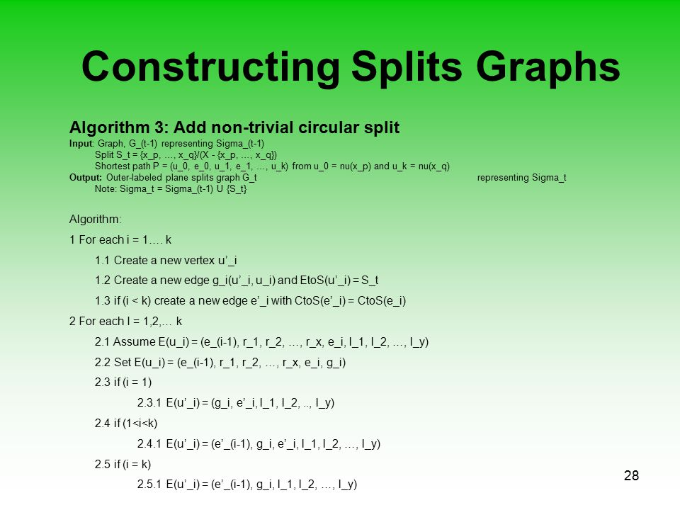 28 Constructing Splits Graphs Algorithm 3: Add non-trivial circular split Input: Graph, G_(t-1) representing Sigma_(t-1) Split S_t = {x_p, …, x_q}/(X - {x_p, …, x_q}) Shortest path P = (u_0, e_0, u_1, e_1, …, u_k) from u_0 = nu(x_p) and u_k = nu(x_q) Output: Outer-labeled plane splits graph G_t representing Sigma_t Note: Sigma_t = Sigma_(t-1) U {S_t} Algorithm: 1 For each i = 1….