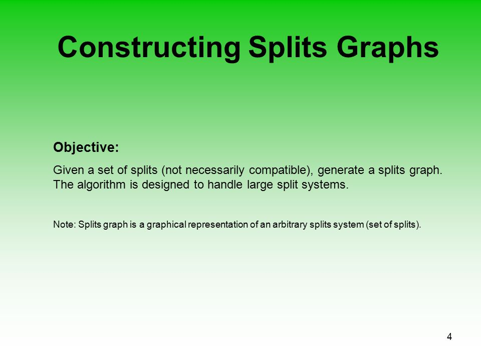 4 Constructing Splits Graphs Objective: Given a set of splits (not necessarily compatible), generate a splits graph. The algorithm is designed to hand