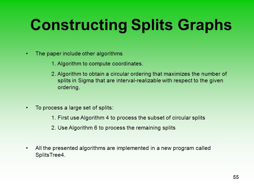 55 Constructing Splits Graphs The paper include other algorithms 1. Algorithm to compute coordinates. 2. Algorithm to obtain a circular ordering that