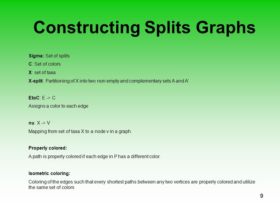 9 Constructing Splits Graphs Sigma: Set of splits C: Set of colors X: set of taxa X-split: Partitioning of X into two non empty and complementary sets A and A' EtoC: E -> C Assigns a color to each edge nu: X -> V Mapping from set of taxa X to a node v in a graph.