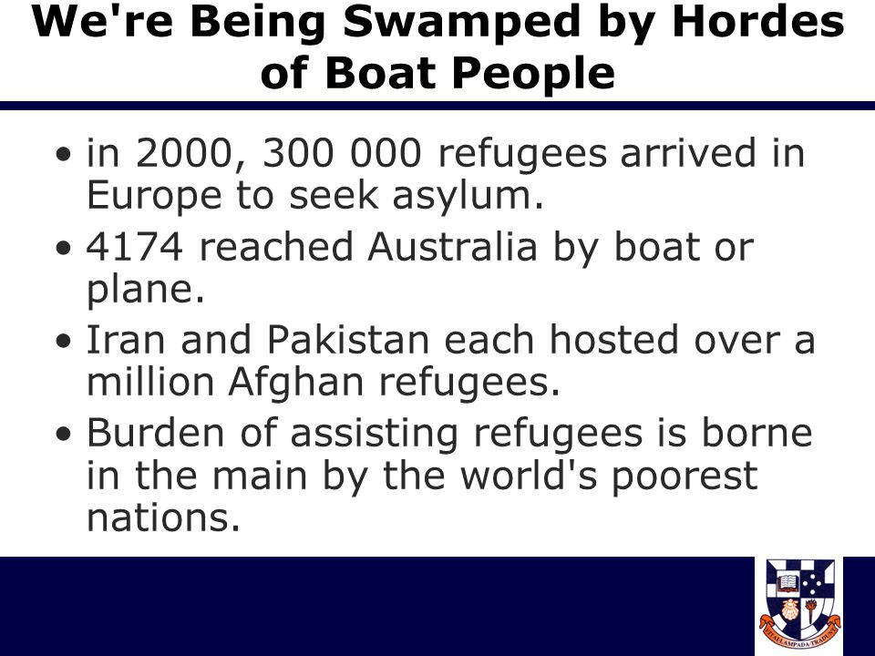 They re Not Real Refugees Anyway 97% of applicants from Iraq successful (1999) 93% of applicants from Afghanistan Generally, 84% of all asylum seekers are found to be legitimate.