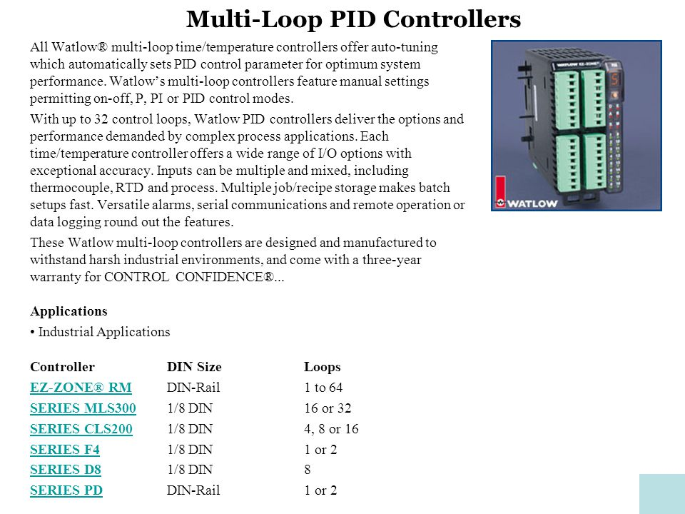 SERIES PD Controllers High Performance Temperature/Process Controller with Web Server and EtherNet/IP™ Available in single or dual loop versions, the DIN-rail mounted SERIES PD controllers are ideally suited for a wide range of temperature and process control applications where the operator interface is supported over a network or the internet.