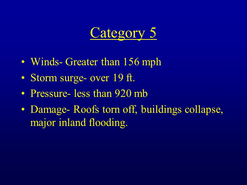 Category 5 Winds- Greater than 156 mph Storm surge- over 19 ft.