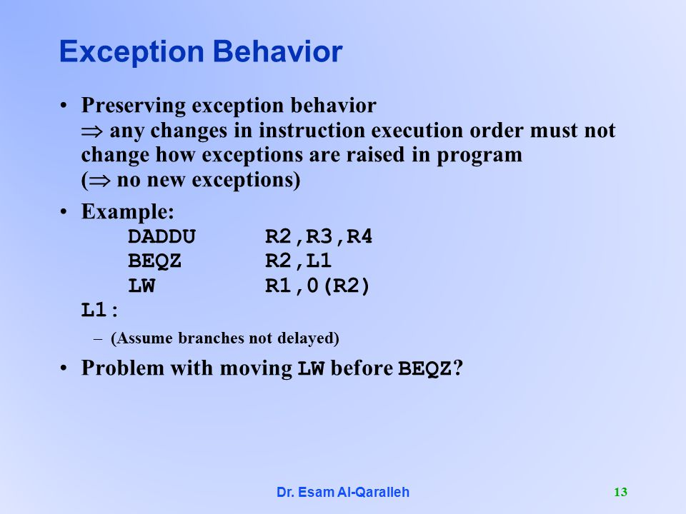 Dr. Esam Al-Qaralleh 13 Exception Behavior Preserving exception behavior  any changes in instruction execution order must not change how exceptions a