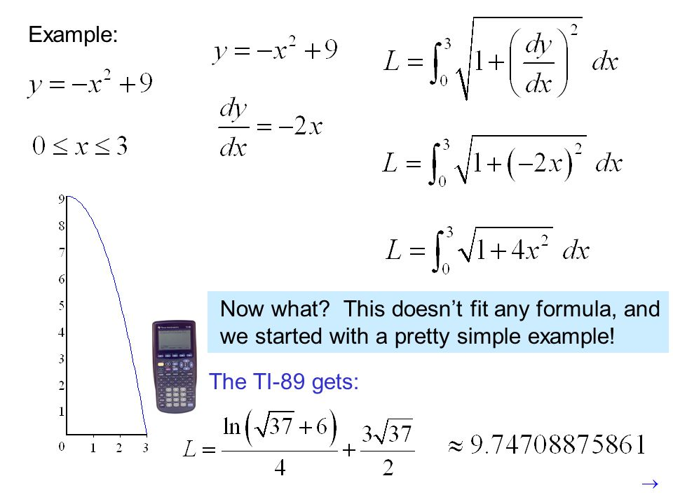 Example: Now what? This doesn't fit any formula, and we started with a pretty simple example! The TI-89 gets: