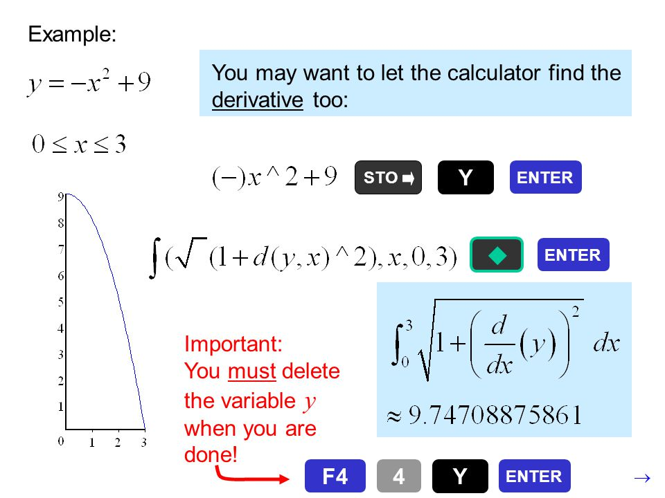 Example: You may want to let the calculator find the derivative too: Important: You must delete the variable y when you are done.