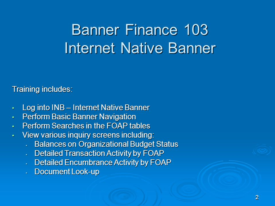 2 Banner Finance 103 Internet Native Banner Training includes: Log into INB – Internet Native Banner Log into INB – Internet Native Banner Perform Basic Banner Navigation Perform Basic Banner Navigation Perform Searches in the FOAP tables Perform Searches in the FOAP tables View various inquiry screens including: View various inquiry screens including: Balances on Organizational Budget Status Balances on Organizational Budget Status Detailed Transaction Activity by FOAP Detailed Transaction Activity by FOAP Detailed Encumbrance Activity by FOAP Detailed Encumbrance Activity by FOAP Document Look-up Document Look-up
