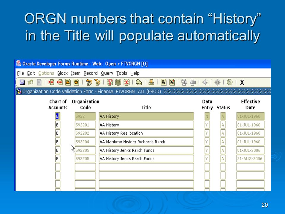 20 ORGN numbers that contain History in the Title will populate automatically