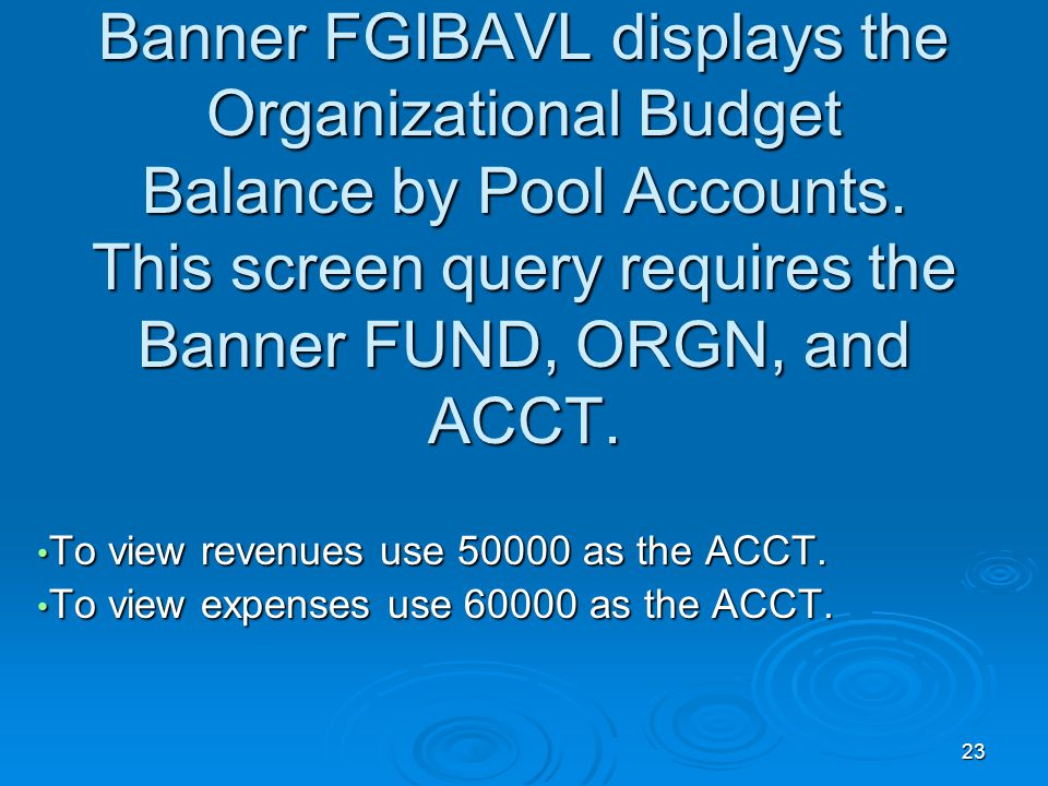 23 Banner FGIBAVL displays the Organizational Budget Balance by Pool Accounts.