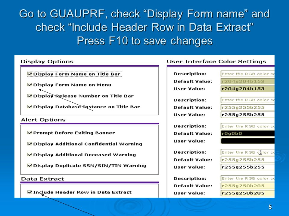 5 Go to GUAUPRF, check Display Form name and check Include Header Row in Data Extract Press F10 to save changes