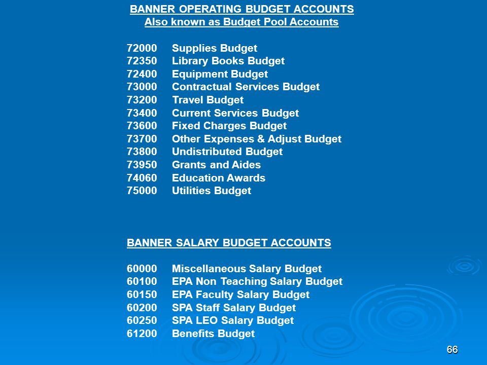 66 BANNER OPERATING BUDGET ACCOUNTS Also known as Budget Pool Accounts 72000 Supplies Budget 72350 Library Books Budget 72400 Equipment Budget 73000 Contractual Services Budget 73200 Travel Budget 73400 Current Services Budget 73600 Fixed Charges Budget 73700 Other Expenses & Adjust Budget 73800 Undistributed Budget 73950 Grants and Aides 74060 Education Awards 75000 Utilities Budget BANNER SALARY BUDGET ACCOUNTS 60000 Miscellaneous Salary Budget 60100 EPA Non Teaching Salary Budget 60150 EPA Faculty Salary Budget 60200 SPA Staff Salary Budget 60250 SPA LEO Salary Budget 61200 Benefits Budget