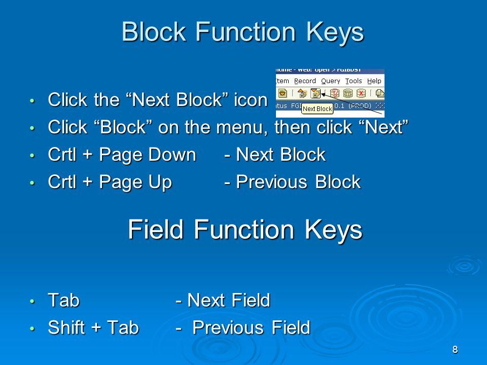8 Block Function Keys Click the Next Block icon Click the Next Block icon Click Block on the menu, then click Next Click Block on the menu, then click Next Crtl + Page Down- Next Block Crtl + Page Down- Next Block Crtl + Page Up- Previous Block Crtl + Page Up- Previous Block Field Function Keys Field Function Keys Tab- Next Field Tab- Next Field Shift + Tab - Previous Field Shift + Tab - Previous Field